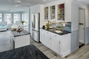 Kitchen Remodeling - Center island at Rhode Island luxury coastal home