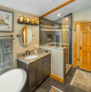Bathroom Remodel - Custom vanity countertop Rhode Island luxury coastal home