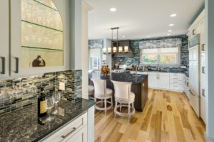 Home Remodel - Glass cabinet in luxury high value Rhode Island home
