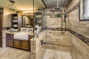 Bathroom Remodel - Custom overhead lighting Rhode Island luxury coastal home