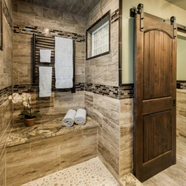 Bathroom Remodel - Custom sliding door Rhode Island luxury coastal home