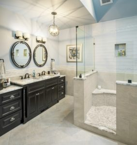 Bathroom Remodel - finishings - dual mirror Rhode Island luxury coastal home