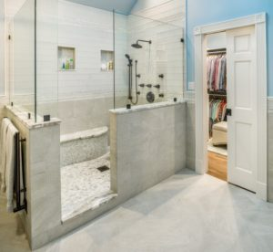 Bathroom Remodel - Custom shower enclosure designs Rhode Island luxury coastal home